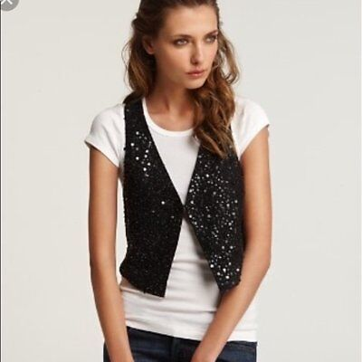 EILEEN FISHER Sz S Small Black Sequin Encrusted Matka Racerback Vest NWT