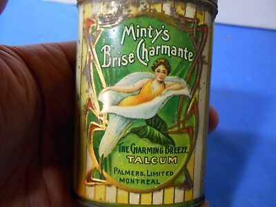 Rare! 1930s Minty Brise Charmante Talcum Powder Tin Palmer Ltd Montreal Graphic!