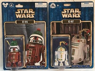 Disney Parks Star Wars Droid Factory R3-H17 & R2-H16 Holiday Christmas Figures