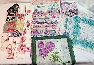 Lot of 45 Vintage Colorful FLORAL Hankies-NEAR MINT!