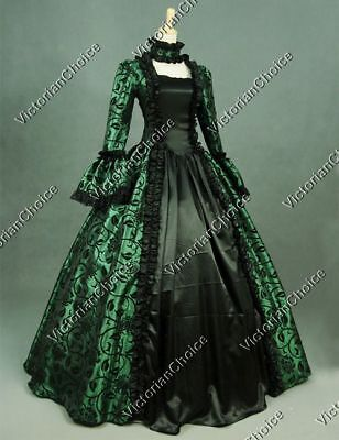 Renaissance Victorian Vintage Floral Gown Dress Steampunk Theater Clothing 119 S