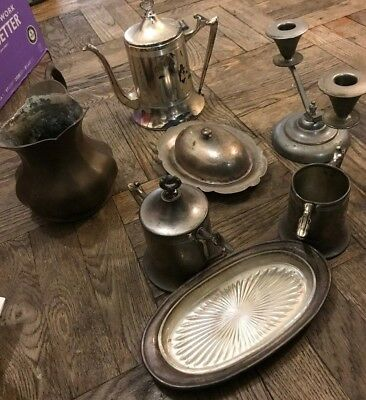 Group LOT Mixed Pieces Antique Silver Plate & Copper CANDALABRA & Receptacles
