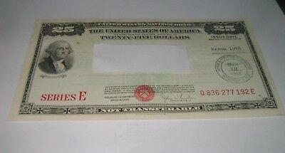 $25 Series E 1948 United States U.S. Savings Bond Twenty Five Dollar