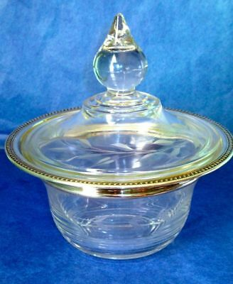 American Art Deco INTERNATIONAL STERLING SILVER Hand Cut Divided Glass Bowl