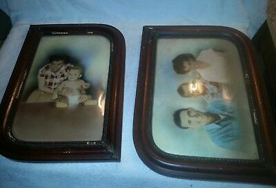 Pair of 2 Antique Bowed Glass on Front Picture Frames with Leather back 1920 s ?