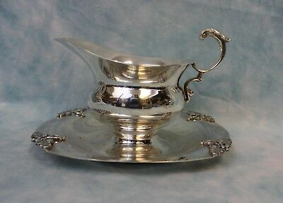 """Antique Fisher silver plate gravy boat with attached tray, 8"""" from front to back"""