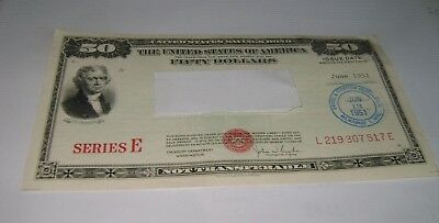 $50 Series E 1951 United States U.S. Savings Bond Fifty Dollar
