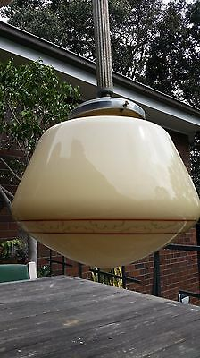 Hand Painted Art Deco + Vintage Circular Ceiling Pendant Light Fitting. 1930's