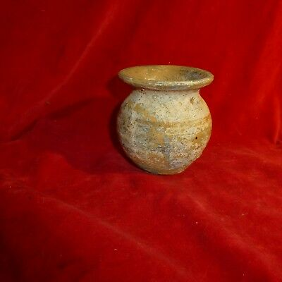 "Rare 1880 Native American Iroquois Indian Color Painted 3 "" Turned Clay Pot"