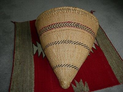 Washoe Gathering Basket: cone-shaped, c. 1930s, museum quality, exceptional.