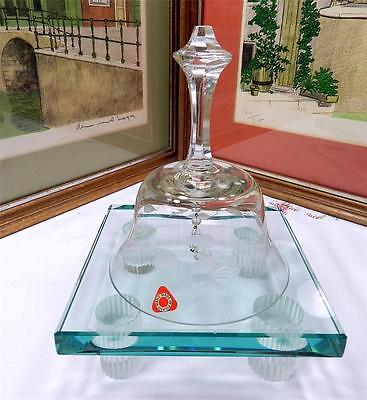 """Vintage Poland Hand Blown 6 3/4"""" Etched Crystal Bell With Original Sticker"""