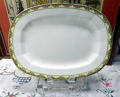 "Antique Edwin M Knowles Vitreous Floral 13"" Oval Serving Platter 1923"