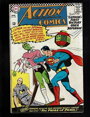 Action Comics 335 Vgf 5.0 Superman Supergirl Brainiac Lex Luthor Ardora Lbj Swan