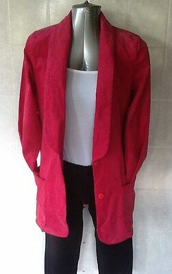 Ladies Retro Vintage Hot Pink Long Straight Line Corduroy Jacket Sarajo Size 10