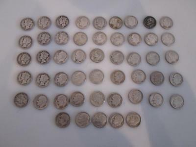 Lot of 50x Vintage Silver Mercury Dimes & Silver Roosevelt Dime Coins 1939-1967