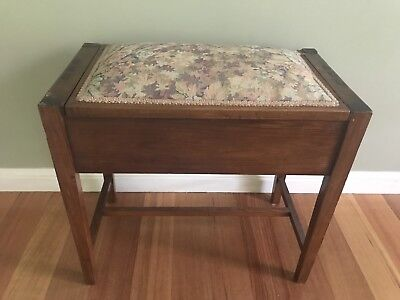 Antique Piano Stool, Hardwood Hinged Seat With Cloth Top
