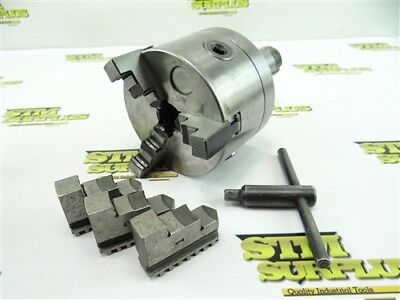 """4"""" Precision Chuck 3 Jaw Flat Back + Extra Jaws W/ Key + 5C Mount Back Plate"""