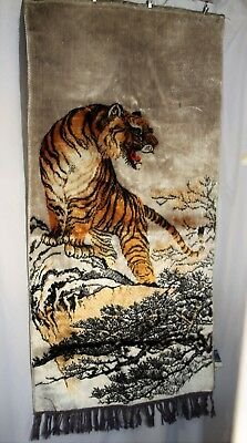 Swan Brand Silk Velveteen Tiger Mountains Tapestry Asian Wall Hanging Panel