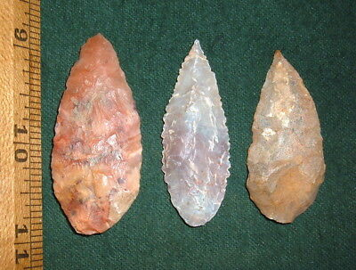 (3) Select Colorful Sahara Neolithic Blades Points Prehistoric African Artifacts