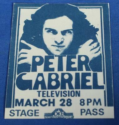 """Vintage Peter Gabriel Television Cloth Unpeeled Backstage Stage Pass 4"""" Long"""