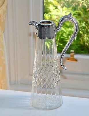 Vintage Claret Jug Decanter with Silver Plate Mount - Diamond & Vertical Cuts