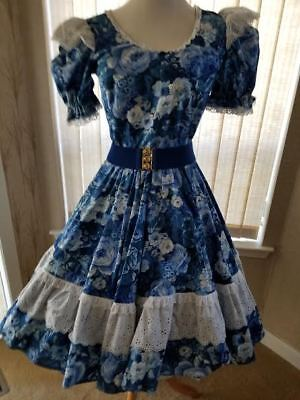Gorgeous Blue Floral with Swiss eyelet trim Square Dance Outfit and accessories