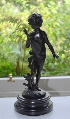 Signed After A MOREAU - Large Bronze of a Boy with a Lute - 34cm
