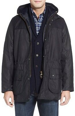 Barbour 'Durham' Waxed Cotton and Tweed Wool Jacket, Navy, Large $729 Retail