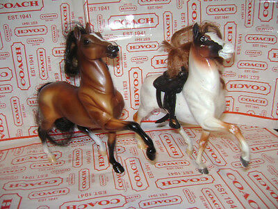 Breyer Reeves Lot of 2 Horses Model Horse with HAIR Brown White Tan one SADDLE