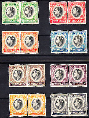 Southwest Africa 1937 Coronation set Cpt. in fresh MNH bi-lingual pairs
