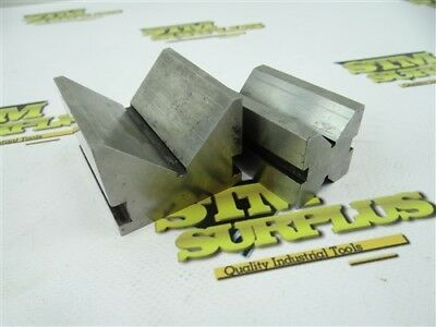"Pair Of Precision Steel V Blocks 1/2"" 3/4"" 1-3/4"" Capacity"