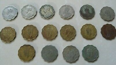 British India One Anna Coins George V & George Vi Emperor Lot Of 16 Coins Scarce