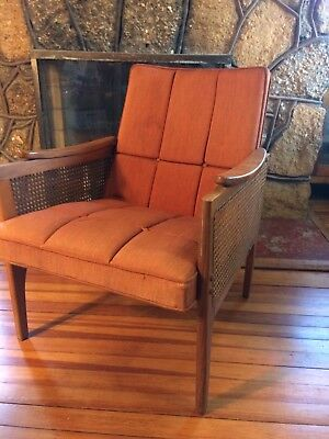 Vtg Mid-Century Danish Modern Walnut Caned Two Arm Chair