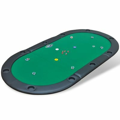 vidaXL Folding Poker Card Casino Table Top Mat 10 Player with Cup Holders Green#
