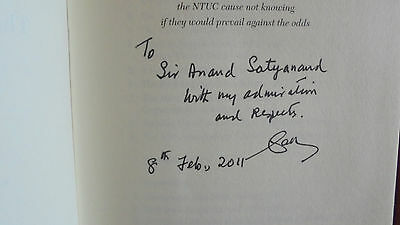 Winning Against The Odds S.R. Nathan SIGNED & DEDICATED to Sir Anand Satyanand