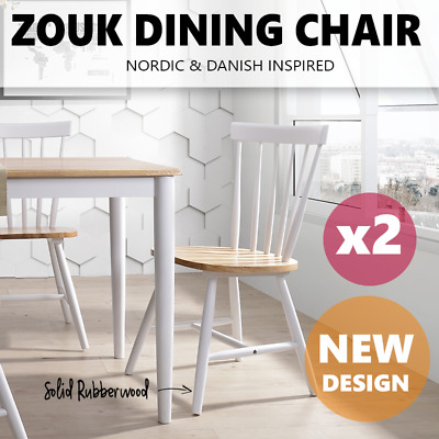 2X ZOUK Dining Chair Solid Timber Rubberwood Scandinavian Wooden Kitchen Cafe
