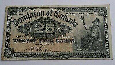 1900 Dominion of Canada - 25 Cents Shinplaster (Boville) Currency Banknote Fine