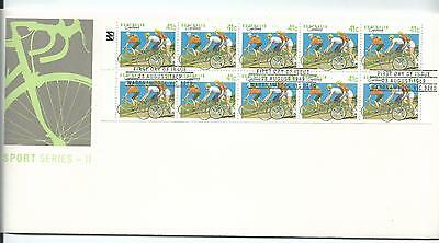 FDC 1989 Sports Series 11 Booklet FDC of 10 x 41c  Special Postmark Warrnambool