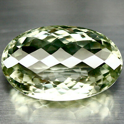 30.57 Ct Aaa! Natural! Green Uruguay Amethyst Oval Facet With Checkerboard Table