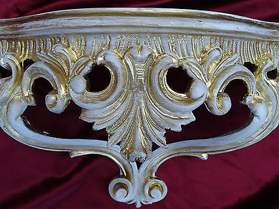 WALL CONSOLE SHELF GOLD White BAROQUE REPRODUCTION 38x20x15,5 cm mirror 811