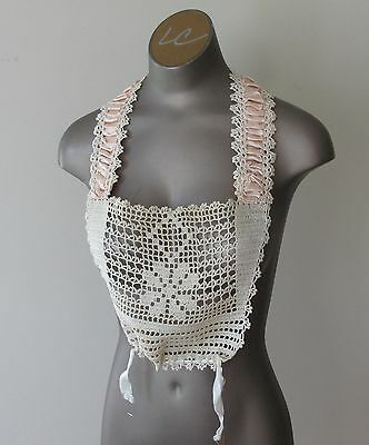 Antique Vintage Victorian Lace Collar with Satin Ribbon