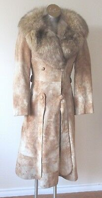 Vintage Distressed Suede Coat with Fox Collar by Tannery Row Size 8