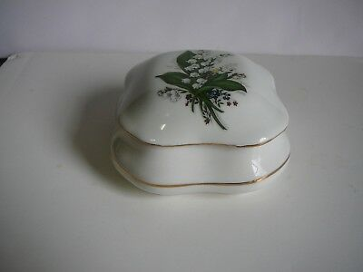 LILY OF THE VALLEY Vintage dresser china Jewelry box w/lid  Floreal Collection