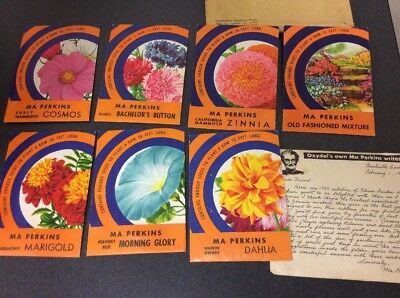 7 Full Unopened Packets Of Flower Seeds 1950's Ma Perkins