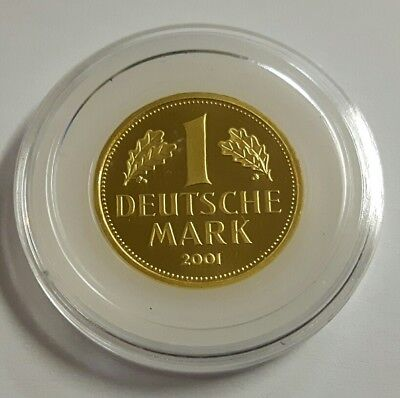 "DEUTSCHLAND: 1 DEUTSCHE MARK 2001 ""F"", ORIGINAL IN GOLD, (Alb03K15), STGL.!"