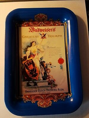Anheuser Busch Budweiser beer metal tip tray 1992 6.5 inches by 4.5 inches