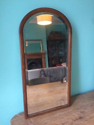 Antique Wooden Arched Bevel Edged Mirror