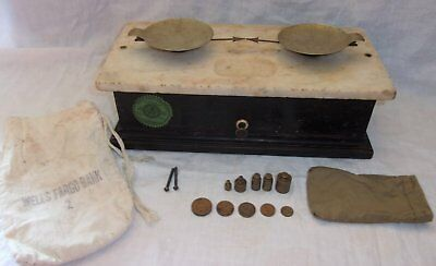 Antique Gold Scale/asseyors Office Has All Weights And Bags Marble Top