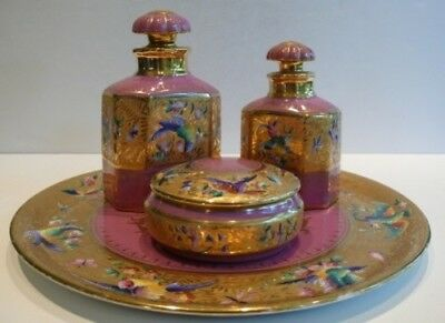 LE TALLEC PARIS Handpainted Limoges France Porcelain Dresser Vanity Set
