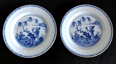 A Pair of Early 18th Century Chinese Blue and White Yongzheng Plates